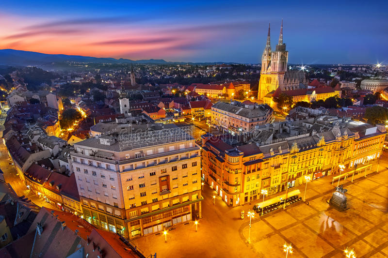 Zagreb Croatia at Sunset. View from above of Ban Jelacic Square. Zagreb Croatia at Sunset. Aerial View from above of Ban Jelacic Square royalty free stock images