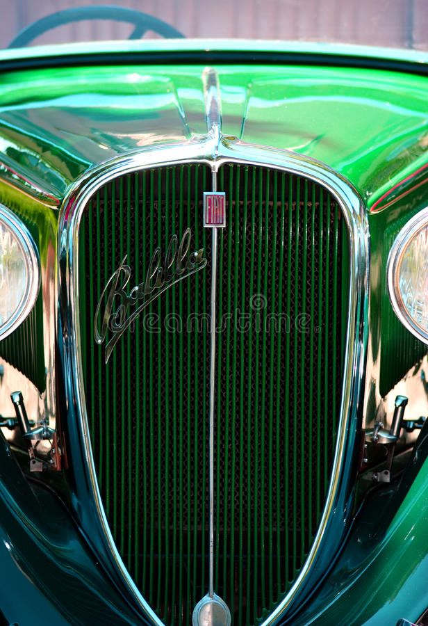 Zagreb, Croatia, 20th June 2010. - Fiat 508 Balilla Spider in bright red colour front grill detail royalty free stock photos