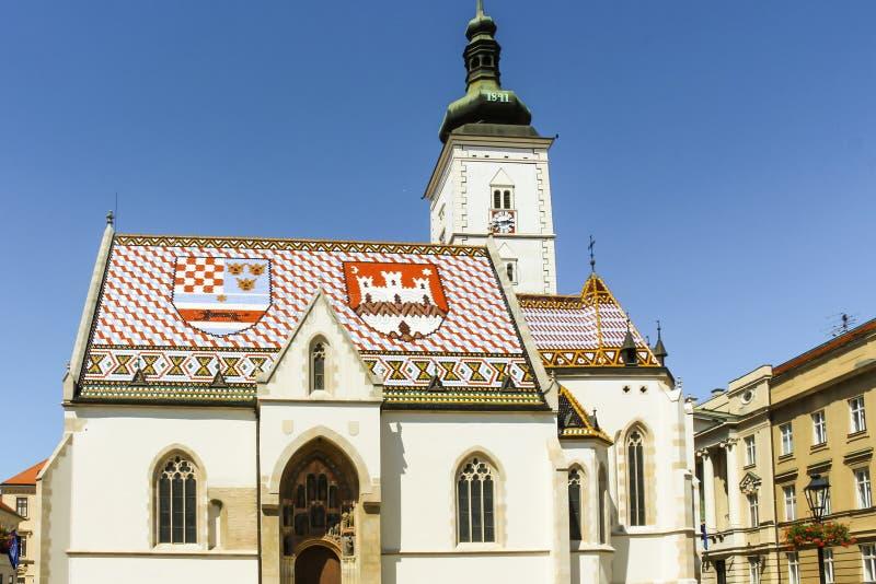 Zagreb, Croatie - 2013 : L'église de St Mark est l'église paroissiale de vieux Zagreb, située dans la place de St Mark Il a été c photographie stock