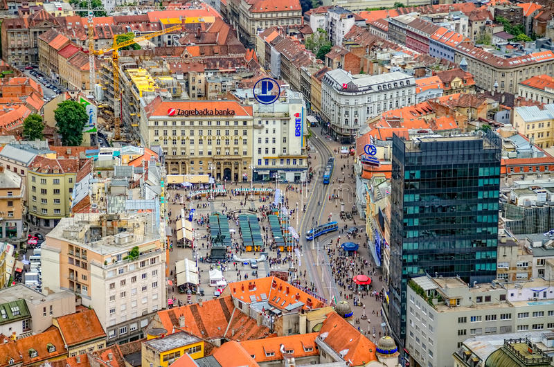 Zagreb flyg- sikt för helikopter arkivfoto