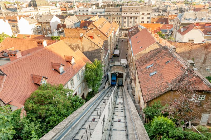 Zagreb funicular in historic center stock photography