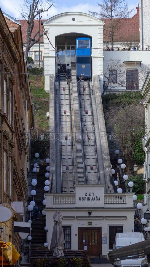 Zagreb funicular travels between upper and lower town stock photo