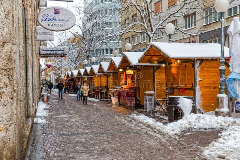 Zagreb Gajeva in de sneeuw stock foto