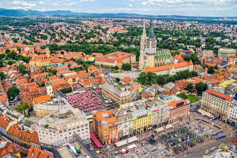Zagreb, helikopter luchtmening stock afbeeldingen
