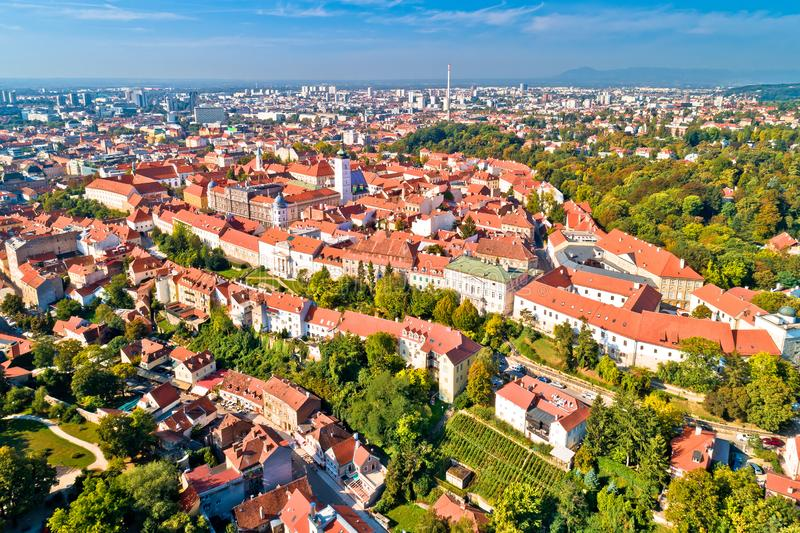 Zagreb historic upper town aerial view. Capital of Croatia stock photography
