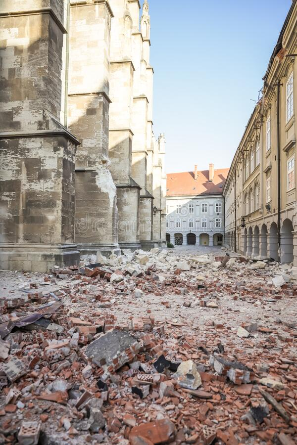 Zagreb hit by the earthquake damaged cathedral royalty free stock photo
