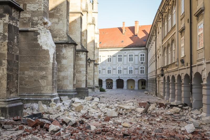 Zagreb hit by the earthquake damaged cathedral stock photos