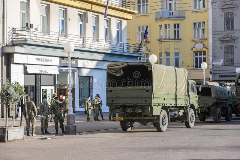 Zagreb hit by the earthquake military in the streets stock photo