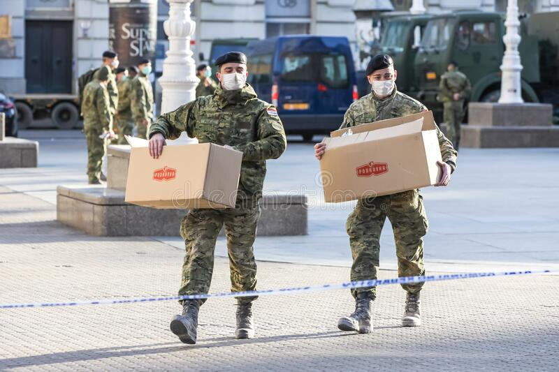 Zagreb hit by the earthquake military in the streets stock photos