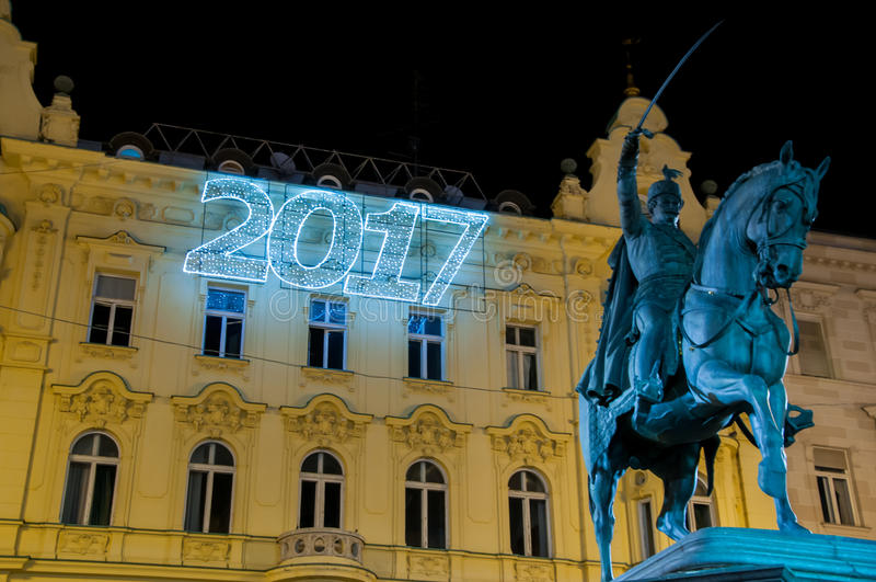 Zagreb julmarknad royaltyfri bild