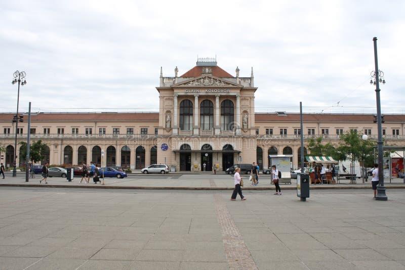 Zagreb, Kroatië: 17 februari 2017 - Hoofdspoorpost in Zagreb, Kroatië stock afbeelding