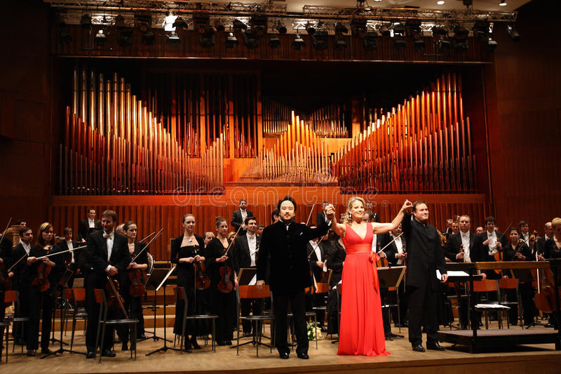 Elina Garanca hield een overleg in de Concertzaal Lisinski. stock afbeeldingen