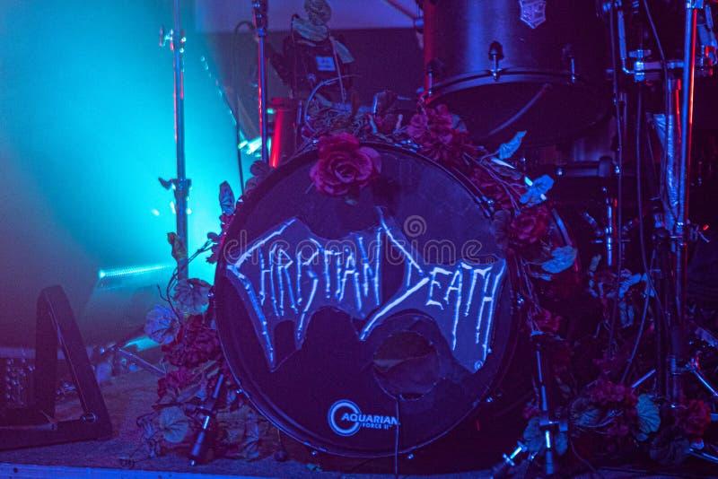 """Zagreb Kroatien†""""kan 30 2019 Konsert av den gotiska rockbandet Christian Death f?r kult i Zagreb royaltyfria bilder"""