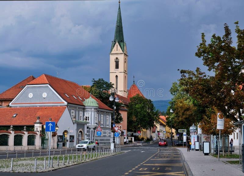 Zagreb, Kroatien, Ansicht zum Franziskanerkloster des Heiligen Franziskus von Assisi lizenzfreie stockfotografie