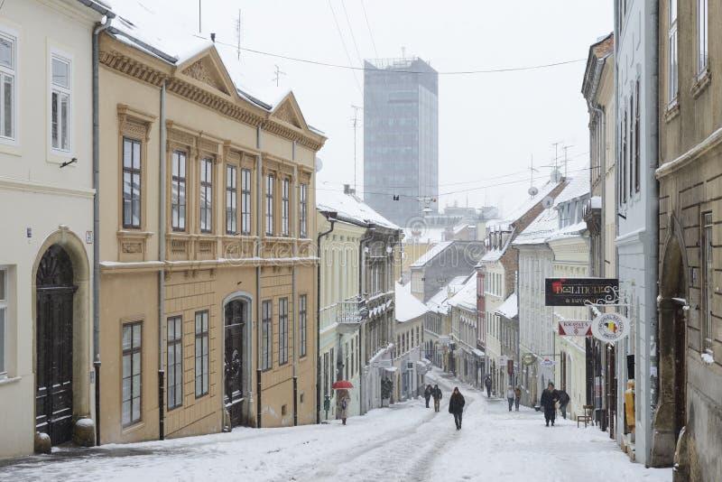 ZAGREB KROATIEN - 6 FEBRUARI, 2015: Radiceva gata som täckas i s arkivbild