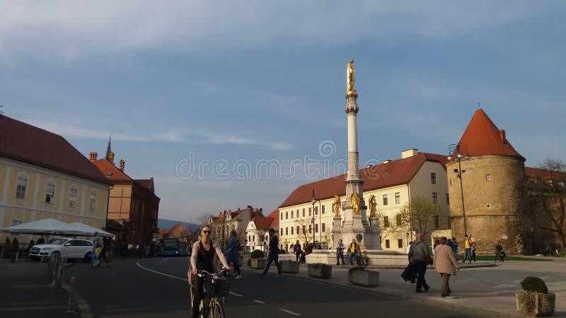 Zagreb, Kroatien Stadtzentrum, Ansicht über die Straßen lizenzfreie stockbilder