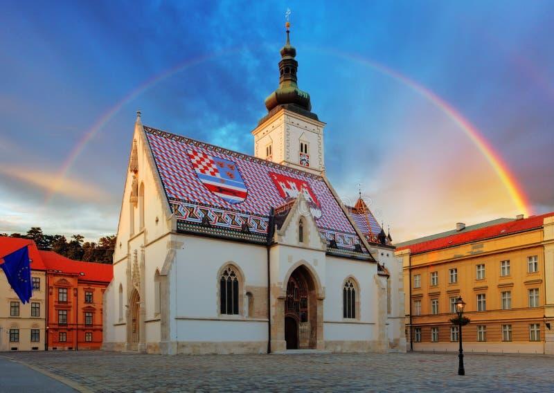 Zagreb kyrka - St Mark arkivfoto