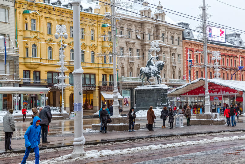 Zagreb main square snow royalty free stock image