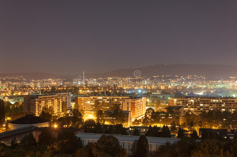 Zagreb at night royalty free stock photography