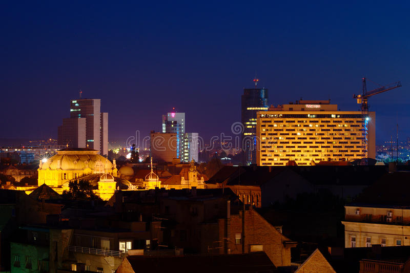 Download Zagreb by Night editorial stock image. Image of roof - 26875049