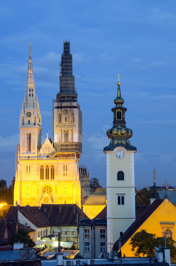 Download Zagreb by night editorial image. Image of croatia, belfry - 27942925