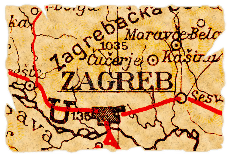 Zagreb old map stock image Image of torn croatia isolated 16563851