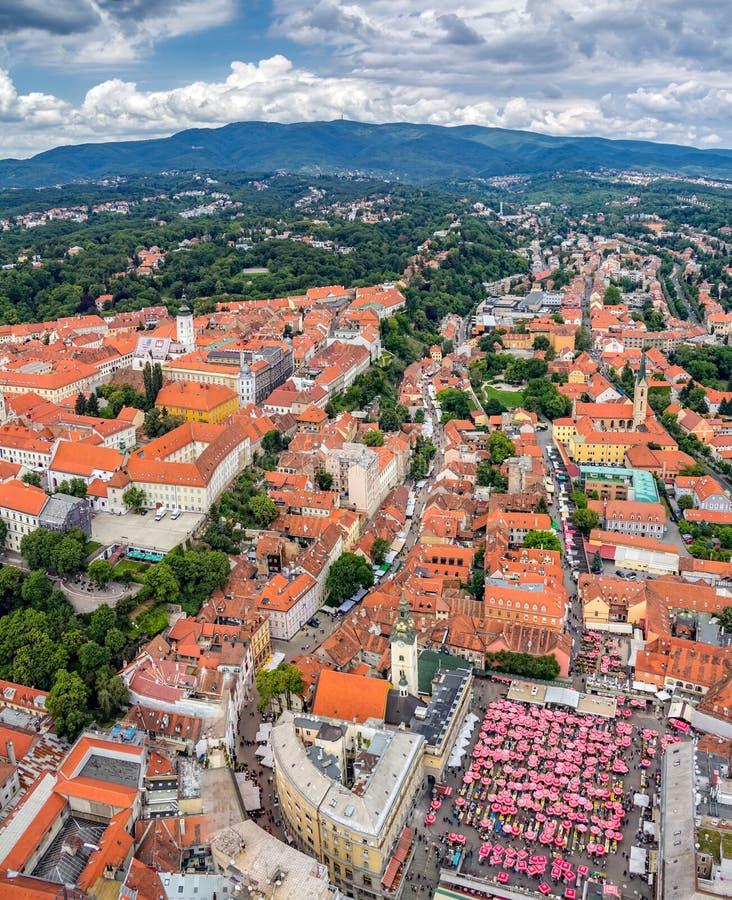 Zagreb, opinión aérea del helicóptero imagen de archivo libre de regalías