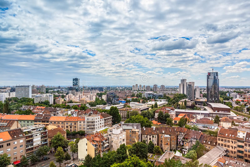 Zagreb, panorama stock afbeeldingen