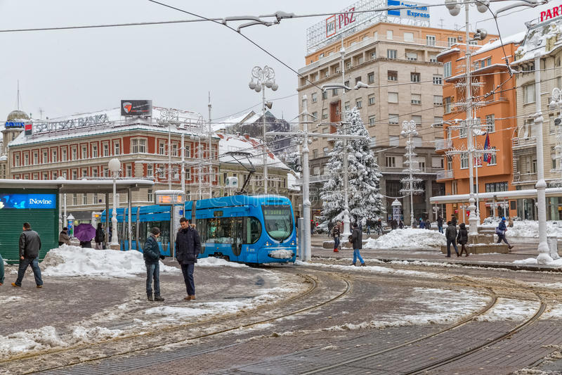 Zagreb snowy tram station royalty free stock photography
