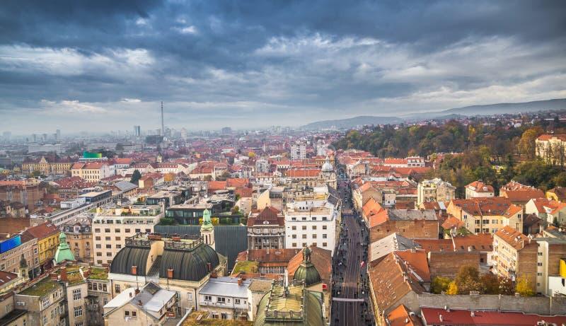 Zagreb-stad scape royaltyfri fotografi