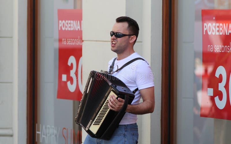 Zagreb Street Musician / Accordionist Singing royalty free stock photos