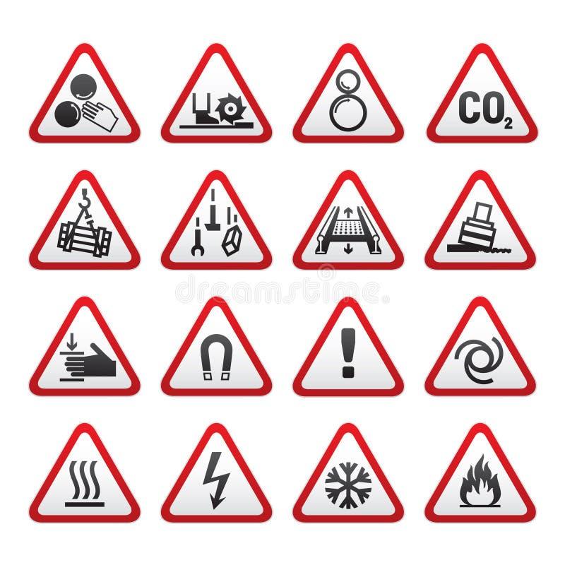 zagrożenia ustalonych znaków prosty trójgraniasty ostrzeżenie royalty ilustracja