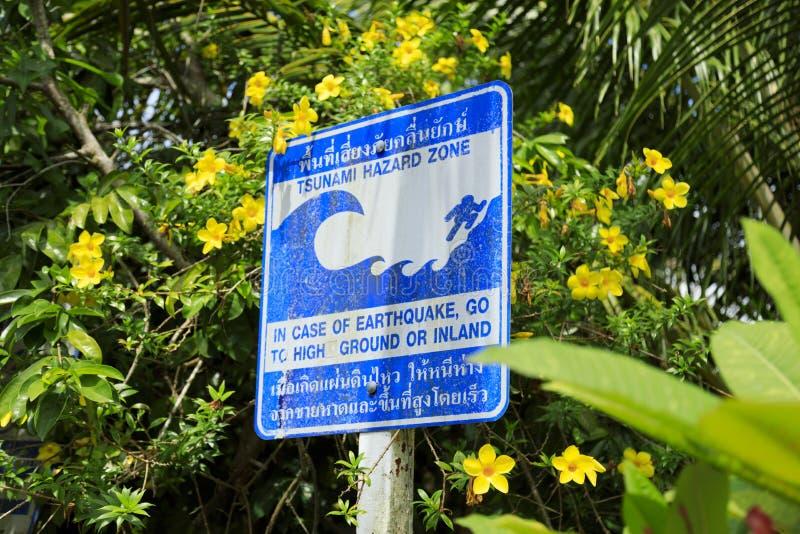 zagrożenia znaka tsunami ostrzeżenia strefa fotografia royalty free