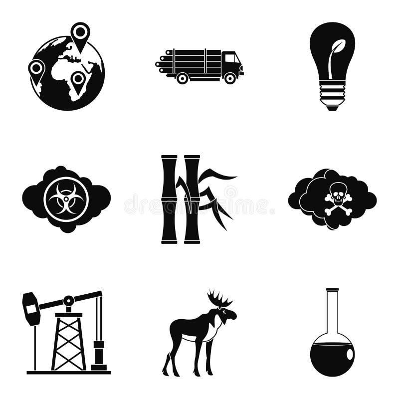 Zagrożenie natur ikony ustawia, prosty styl ilustracji
