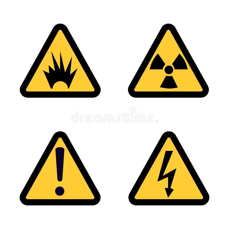 Zagrożenie znaka ostrzegawczego ikona ustawiająca na białego tła projekta Płaskim wektorze royalty ilustracja