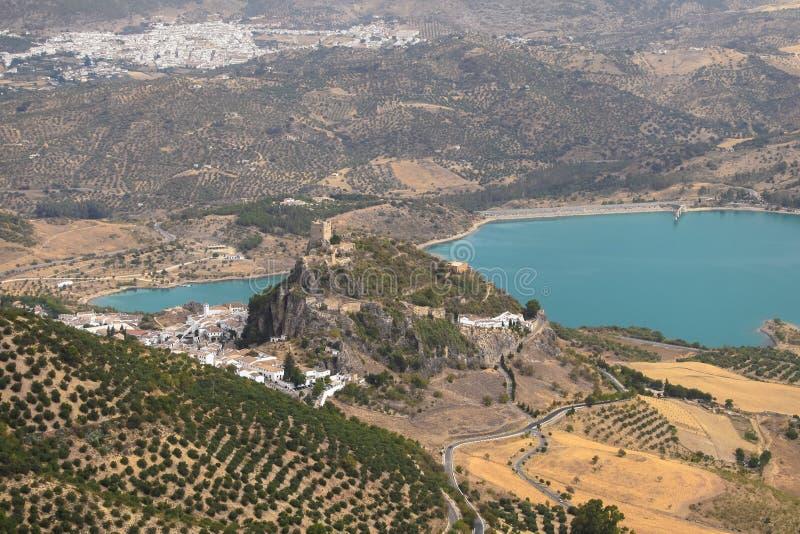 Zahara de la sierra Schloss, CÃ-¡ diz, AndalucÃa, Spanien Luftansichten lizenzfreies stockbild