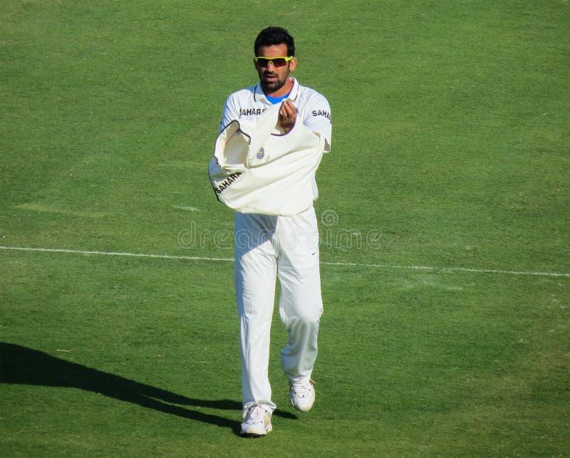 Zaheer Khan, joueur de cricket indien, Indore-Inde image stock