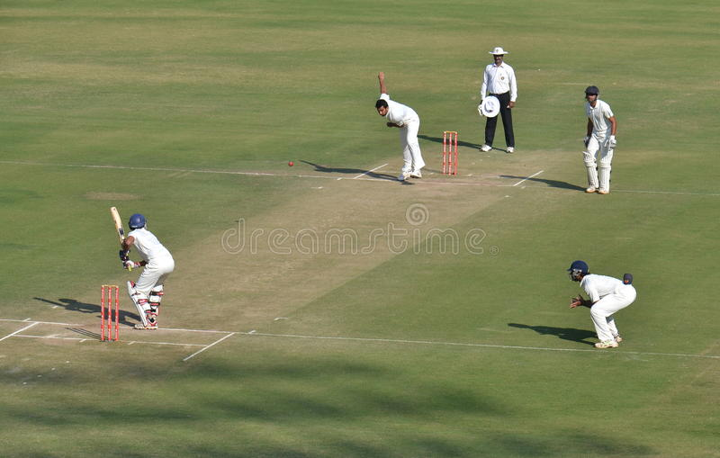 Zahir Khan's follow through in a Cricket Match stock images