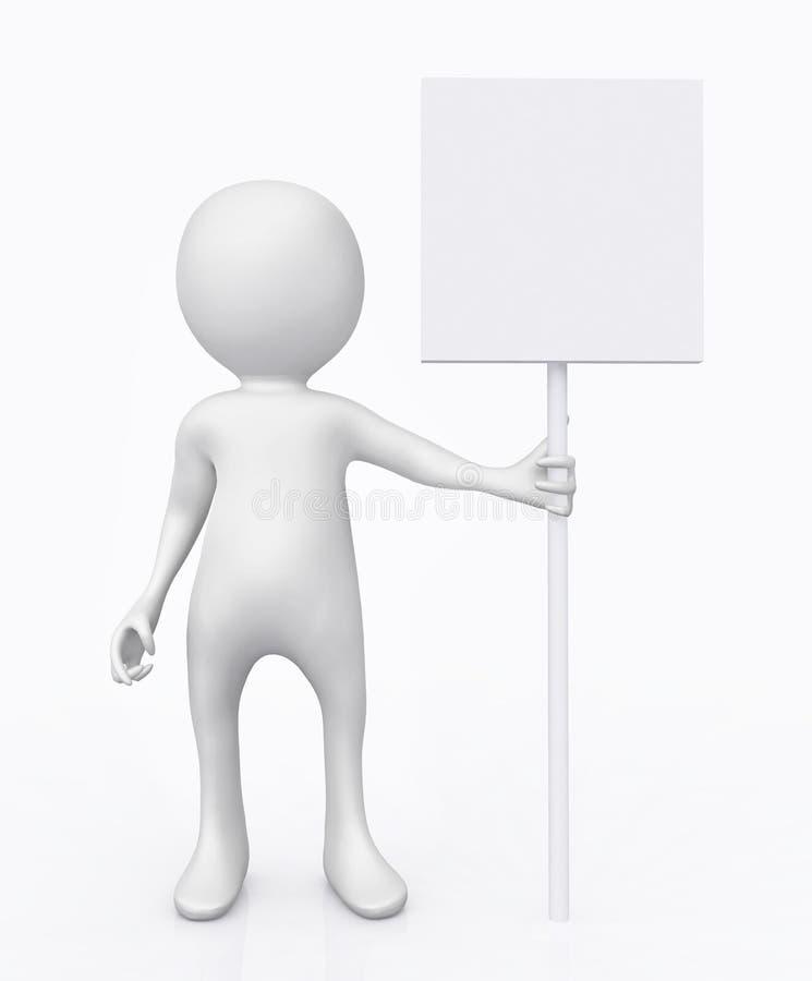 Zahl 3D mit einem Schild stock abbildung