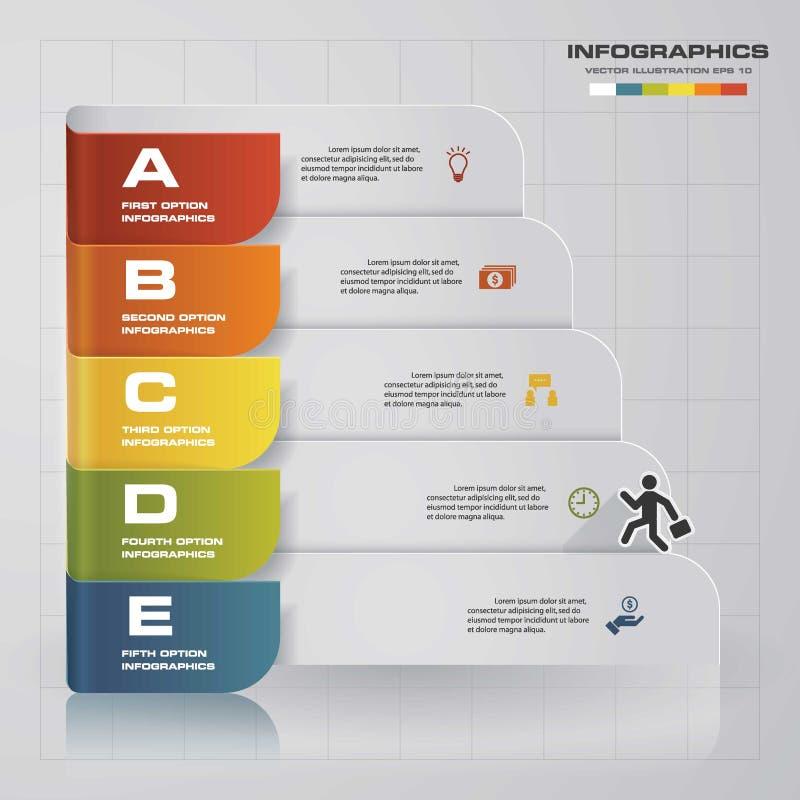 Zahl-Fahnenschablone des Designs saubere Diagramm mit 5 Schritten Vektor vektor abbildung