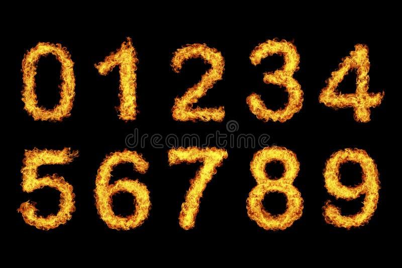 Zahl gemacht vom Feuer stockbilder