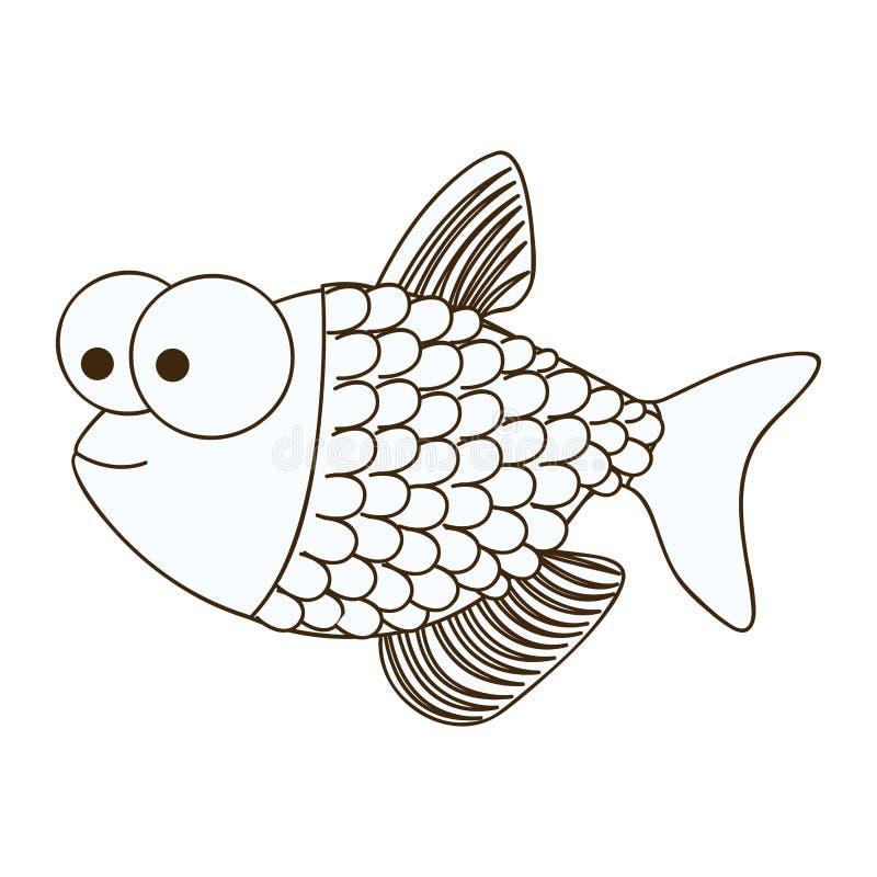 Zahl glückliche Fische scalescartoon Ikone lizenzfreie abbildung