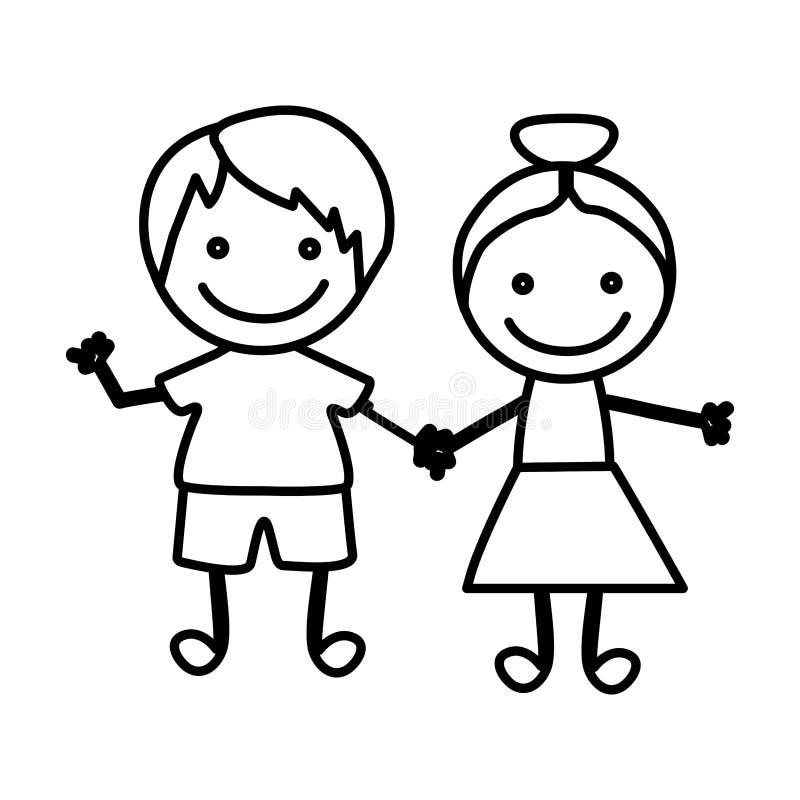 Zahl glückliche Kinder mit Handzusammen Ikone lizenzfreie abbildung