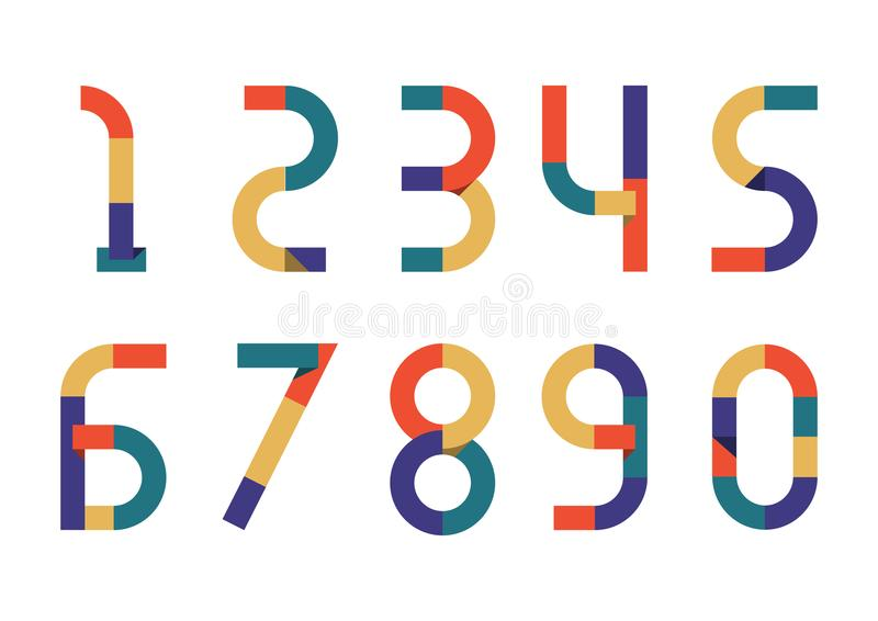Zahl-Retro- Farbpapier stock abbildung
