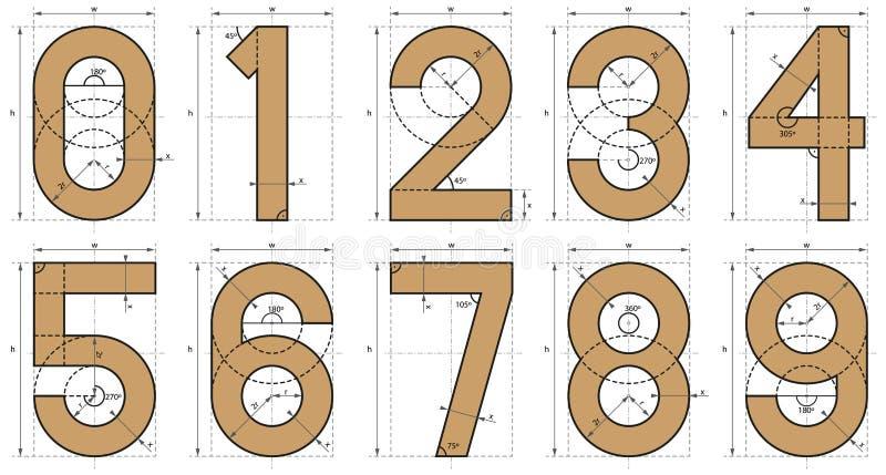 Zahl-Schrifttyp-technische Zeichnung stock abbildung