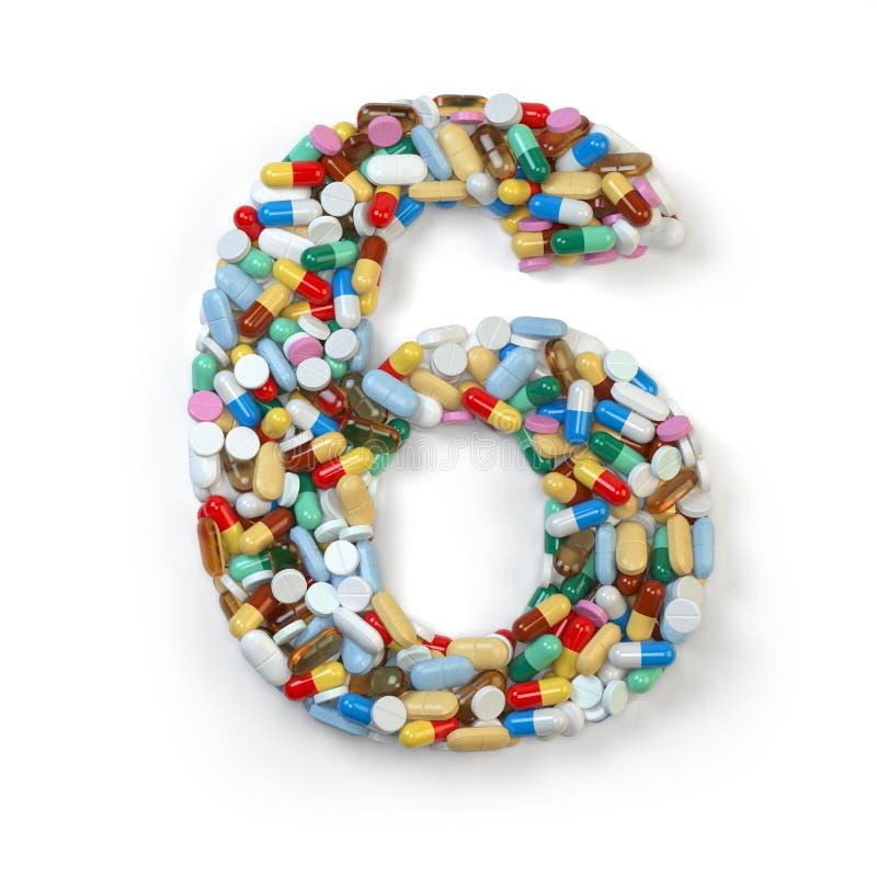Zahl 6 sechs Satz des Alphabetes der Medizinpillen, Kapseln vektor abbildung
