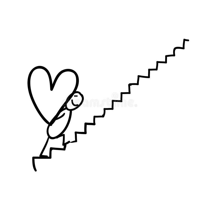 Zahl tragendes Herz auf Treppenhaus stockbild