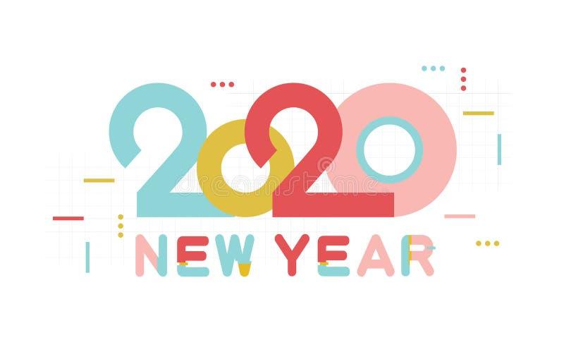 Zahl und Text des guten Rutsch ins Neue Jahr 2020 Moderner Entwurf für Grußplakat und Karten, Kalender, Fahnen, Standort, Geschäf vektor abbildung