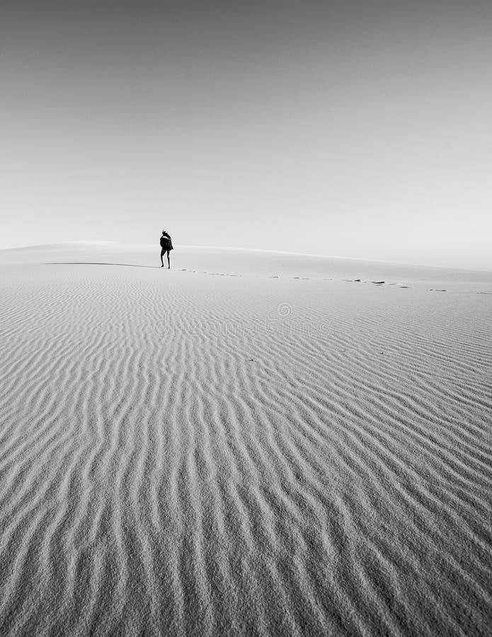 Zahl verlor in den Sanddünen, die weg in den Abstand allein gehen lizenzfreies stockbild