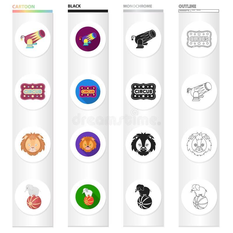Zahl, Zirkus, Unterhaltung und andere Netzikone in der unterschiedlichen Art Tier, Ball, Elefantikonen in der Satzsammlung stock abbildung